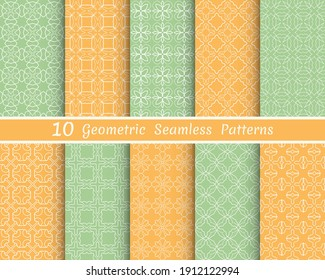 Set of seamless line patterns. Colorful geometric backgrounds collection. Endless repeating linear texture for wallpaper, packaging, banners, invitations, business cards, fabric print