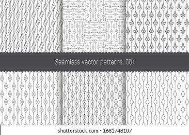 A set of seamless linear patterns. Collection of geometric Byzantine backgrounds. Repetitive linear texture for Wallpaper, packaging, banners, invitations, business cards, fabric in Oriental style
