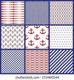 Set of seamless marine motifs background. Chains, anchor, polka dots, spripes, lines, waves. Collection of nautical style patterns. Editable element for brush swatch. Different ornaments. Vector