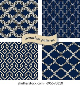 Set of Seamless moroccan pattern. Collection of seamless abstract pattern in arabic style. Ornamental seamless pattern. Vector illustration