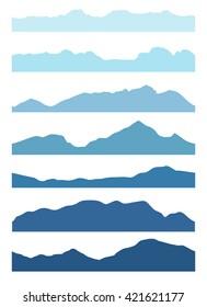 Set of seamless mountain silhouettes. Vector illustration.