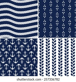 Set of seamless nautical navy blue and white background patterns for gift wrapping paper, textiles and scrapbooking. Includes rope pattern, anchors, leaves and geometric triangles pattern.