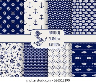 Set of seamless nautical patterns. Backgrounds with anchors, ship wheels, fish, waves. Design elements for wallpaper, baby shower invitation, birthday card, scrapbooking, fabric. Vector illustration