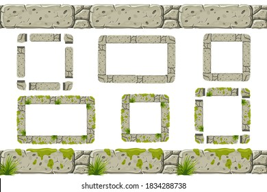 Set of seamless old gray rock border and frames with moss. Vector stone sidewalks for computer games isolated on white background.