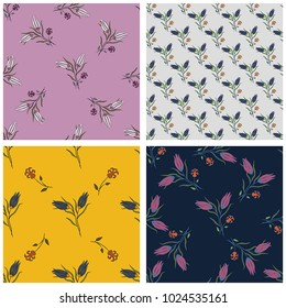 Set of seamless  oriental floral patterns. For t-shirt design, poster, banner and other design.