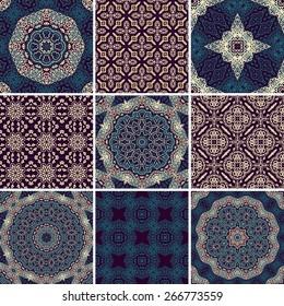 Set of seamless ornamental ethnic patterns