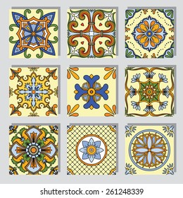 Set with seamless ornamental tile background.Can be used for desktop wallpaper or frame for a wall hanging or poster,for pattern fills, surface textures, web page backgrounds, textile and more