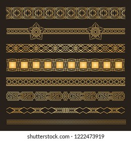 Set  Seamless ornamental tracery. Geometric line tracery, rhombus, squares, seamless background. Vector illustration.