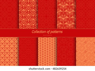 Set of seamless ornaments. East stylized pattern. Background of fine lines for wrapping paper, textile, decorating banners. Vector illustration.