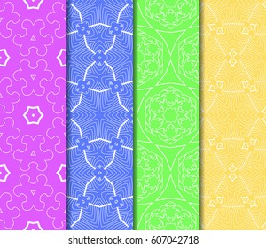 set of seamless pattern. abstract floral ornament. vector illustration. For design, wallpaper, background fills, card, banner. Multicolor