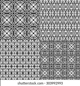 set of seamless pattern (black on white)