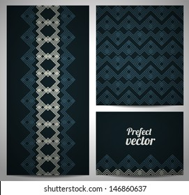 Set of seamless pattern and borders. Vector ethnic ornaments.