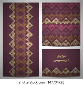 Set of seamless pattern and borders. Vector ornaments.