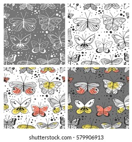 Set of seamless pattern with butterfly. Hand drawn vector illustration. Decorative elements for design. Creative art work