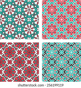 Set Of Seamless Pattern With Circle Ethnic Ornament. Abstract Background For Design