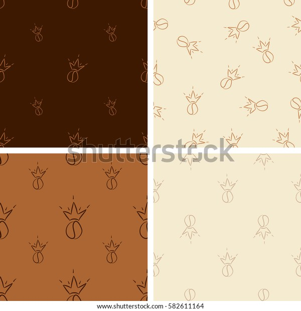 Set of seamless pattern with coffee beans with crown.