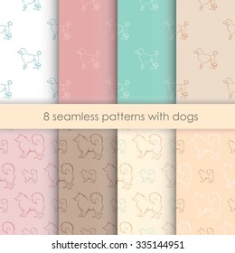 set seamless pattern with dogs