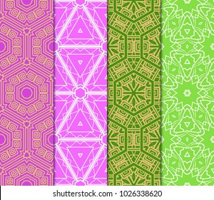 Set of Seamless pattern set. Fashion geometric ornament. Vodern texture. Vector illustration