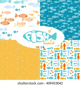 Set of seamless pattern with fish and the fishnet. Drawings by hand. Patterns for design of surfaces, wallpaper, fabrics, packaging. Vector illustration.