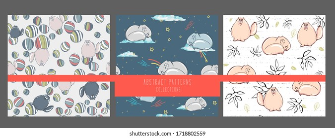 set of seamless pattern with hand drawing textured cute cats in cartoon doodle style. Grey colored endless background. Vector collection.
