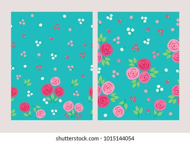 Set of seamless pattern with hand drawn spring flowers for textile, wallpapers, gift wrap and scrapbook. Green background. Vector illustration.