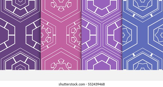 set of seamless pattern of hexagons. vector illustration. Decorative texture for design wallpaper, web page, banner, flyer.
