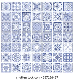 Set of seamless pattern, Moroccan tiles, ornaments.