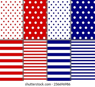 Set of seamless pattern - red, white and blue. Big and small polka dots, lined textile with large and small lines and stripes design. Perfect as 4th of july or nautical background. vector illustration