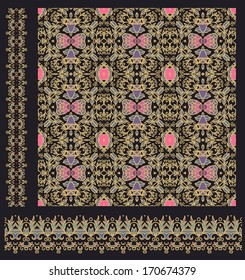 Set of seamless pattern and ribbons