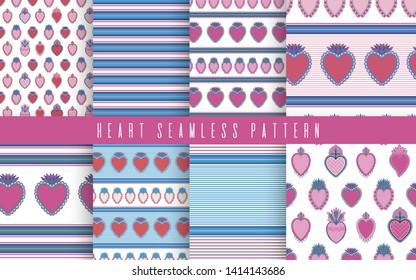 Set seamless pattern sacred mexican spirit color. Soul symbol religion. Decoration emblem holy heart.Sacramental religion.Vector illustration.