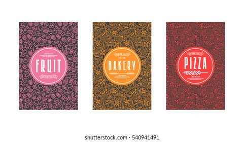 Set of seamless pattern and template labels for bakery, pizza, fruit. Color print on black label