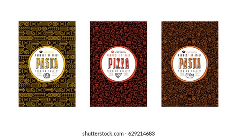 Set of seamless pattern and template labels for pizza and pasta. Design elements in thin line style. Color print on black label