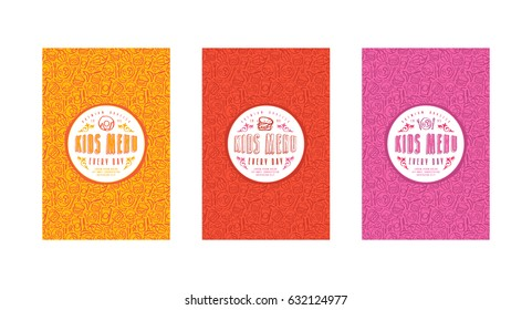 Set of seamless pattern and template labels for kids menu. Set of color variants
