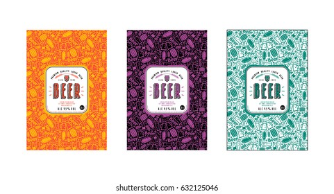 Set of seamless pattern and template labels for craft beer. Set of color variants
