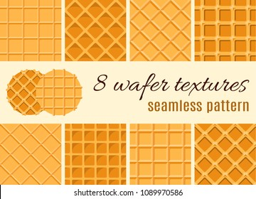 Set of seamless pattern. The texture of the waffle, an ice cream cone. Cartoon illustration for web, site, advertising, banner, poster, flyer, business card. Vector illustration