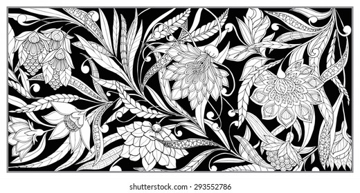 Set of seamless pattern. Vintage decorative flowers. Hand drawn background. art deco, art nouveau. Perfect for printing on fabric or printing on fabric or paper.
