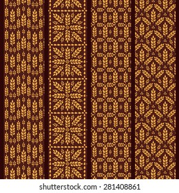 Set of seamless pattern with wheat. Brown agricultural background about harvest and grain. Collection of summer bright wallpapers.Patterns located under clipping masks