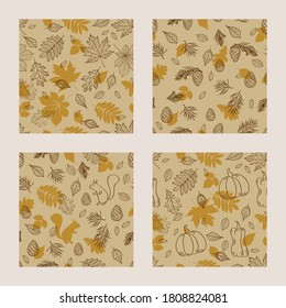 Set of seamless patterns with autumn leaves, cute squirrel, cones and spruce. Vector illustration.