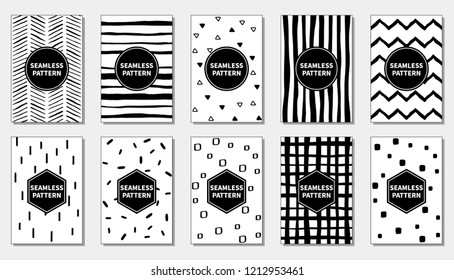 Set of seamless patterns with black and white.