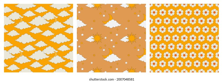 A set of seamless patterns in the boho style. A pattern with a vintage sun, planet, moon, clouds and stars. Vector illustration of retro patterns of the 70s