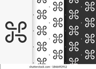 Set of seamless patterns Bowen knots in flat style. Collection cards Celtic symbol.