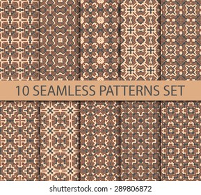 Set of seamless patterns in byzantine style. Ten unrepeatable graphic ornaments with swatch for filling.