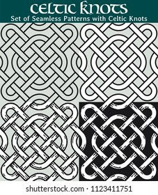 Set of Seamless Patterns with Celtic Knots. 4 different versions of a seamless pattern with Celtic knots: with white filling, without filling, with shadows and with a black background.