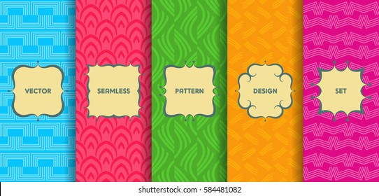 Set of seamless patterns. Collection of bright colorful vector backgrounds and labels. Monochrome geometric design.