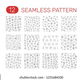 Set of seamless patterns. Cryptocurrency, water, school subjects, sleep,  sea animals, crown, avatar, halloween, volunteering, hospital, holiday theme. Vector illustration design
