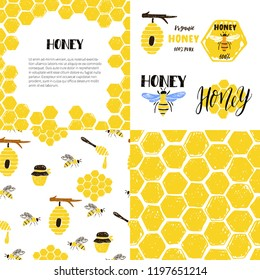 Set of seamless patterns, frame, labels. Honeycomb, bees, beehive, jar. Vector hand drawn illustration.