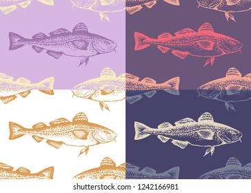 Set of seamless patterns with hand-drawn silhouettes of codfish. Vector. Idea of wrapping paper for fish.