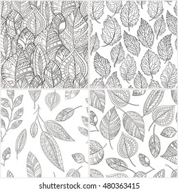 Set of seamless patterns hand-drawn in zentangl style. Monochrome gamma . Leaves zentangle pattern .