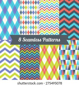 Set of Seamless Patterns with Harlequin, Argyle, Triangles and Chevron in Violet, Green, Blue, Red and White. Perfect for wallpapers, pattern fills, background, textile, birthday and wedding cards