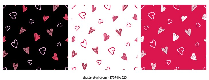 A set of seamless patterns with hearts in Doodle style. Hearts on a colored background. Template for fabrics, pajamas, greeting cards, posters, labels, stickers and banners. Vector illustration